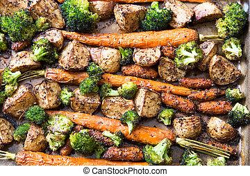 grönsaken, organisk, steket