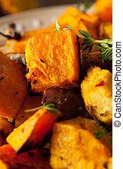 grönsaken, rot, hemlagat, steket