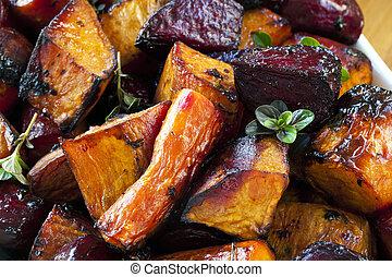 grönsaken, rot, steket