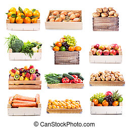 grönsaken, sätta, olika, frukter