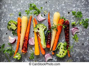 grönsaken, stekande