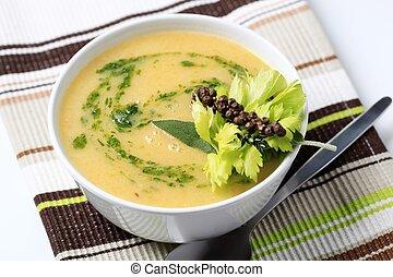 grönsakssoppa, grädde