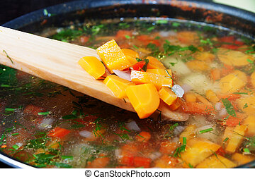 grönsakssoppa, med, moroten, paprika, potatisarna, onions, och, persilja