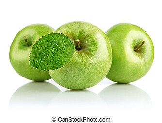 grönt äpple, frukter, med, blad