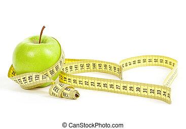grönt äpple, med, a, mätning band, och, hjärta, symbol,...