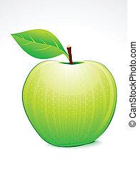 grönt äpple, med, blad, vektor