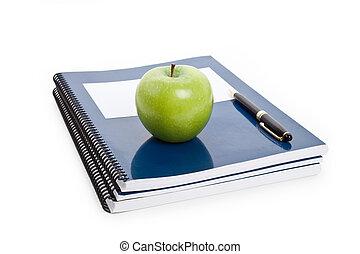 grönt äpple, och, lärobok