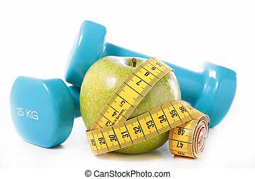 grönt äpple, och, meter