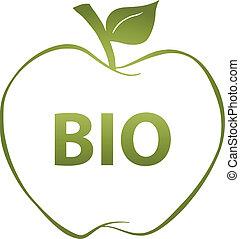 grönt äpple, och, text, bio