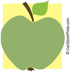 grönt äpple, på, a, gula fyrkantiga