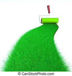 grönt gräs, målning