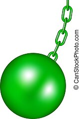 grönt kula, design, wrecking