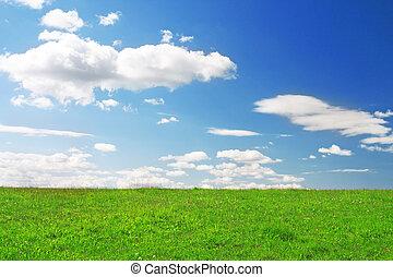 grönt kulle, under, blå, mulen himmel
