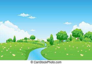 grönt landskap, med, flod, träd och blomstrar