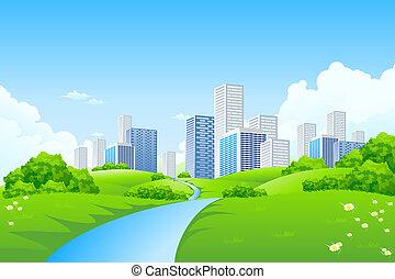 grönt landskap, med, stad