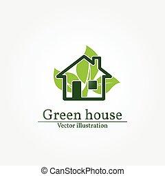 grönt logera, logo., energi, besparing, concept., vektor, illustration.