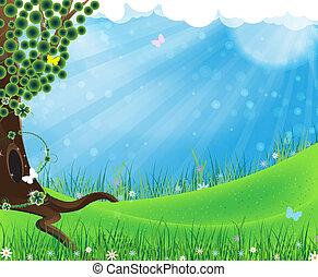 grönt träd, äng