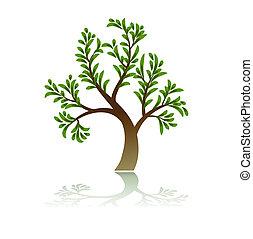 grönt träd, ikon