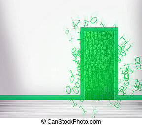 grøn dør, til, fremtid