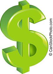 grøn dollar tegn