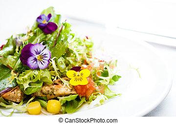 grøn salat, på, en, hvid plade