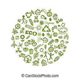 grønne, økologi, konstruktion, din, baggrund