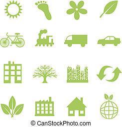 grønne, økologi, symboler