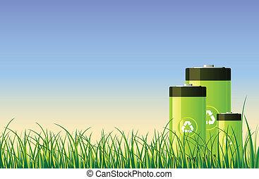 grønne, akkumulatorerne