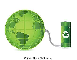 grønne, batteri, hos, klode jord