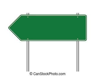 grønne, blank, trafik underskriv