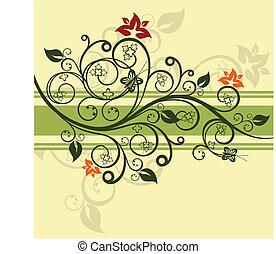 grønne, blomstret konstruktion, vektor, illustration
