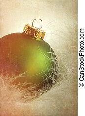 grønne, bold christmas, på, blød, hvid, fjer