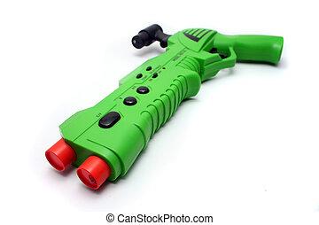 grønne, boldspil video, geværet, controller, på hvide