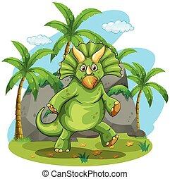 grønne, dinosaurus, beliggende, på, to, føder