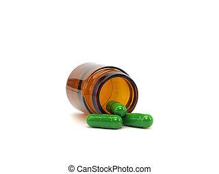 grønne, farmaceutisk, kapsler