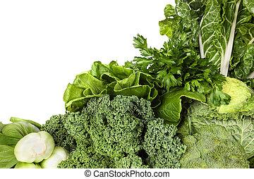 grønne grønsager, hen, hvid baggrund