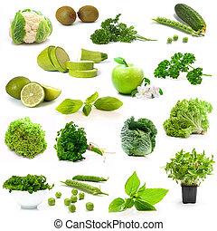 grønne grønsager, og, frugter, på hvide, baggrund