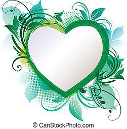 grønne, hjerte, blomstrede, baggrund