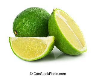 grønne, kalk, eksotisk frugt