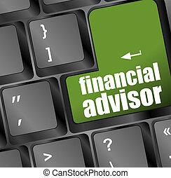 grønne, knap, advisor, finansielle, klaviatur