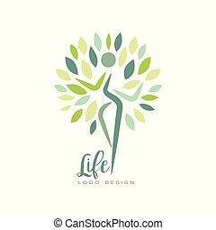 grønne, lejlighed, liv, eller, silhuet, centrum, sunde, wellness, abstrakt, studio, leaves., vektor, konstruktion, harmoni, menneske, emblem, logo, yoga, nature.