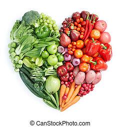 grønne, og, rød, sund mad
