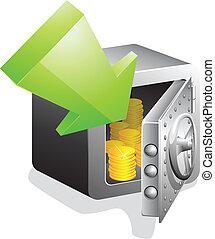 grønne, pengeskab, åbn, bank, pil