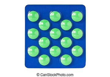grønne, pillerne, ind, blist