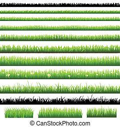 grønne, sæt, græs