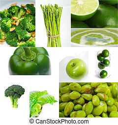 grønne, sund mad, collage, samling