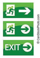 grønne, udgang, nødsituation underskriv