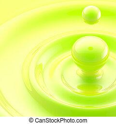 grønne, væske, nedgang, abstrakt, baggrund