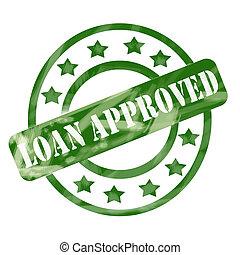 grønne, weathered, lån, anerkendt, frimærke, cirkler, og,...