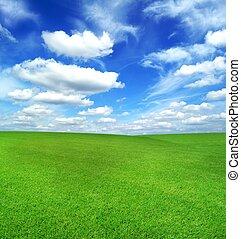 grønnes felt, og blå, himmel